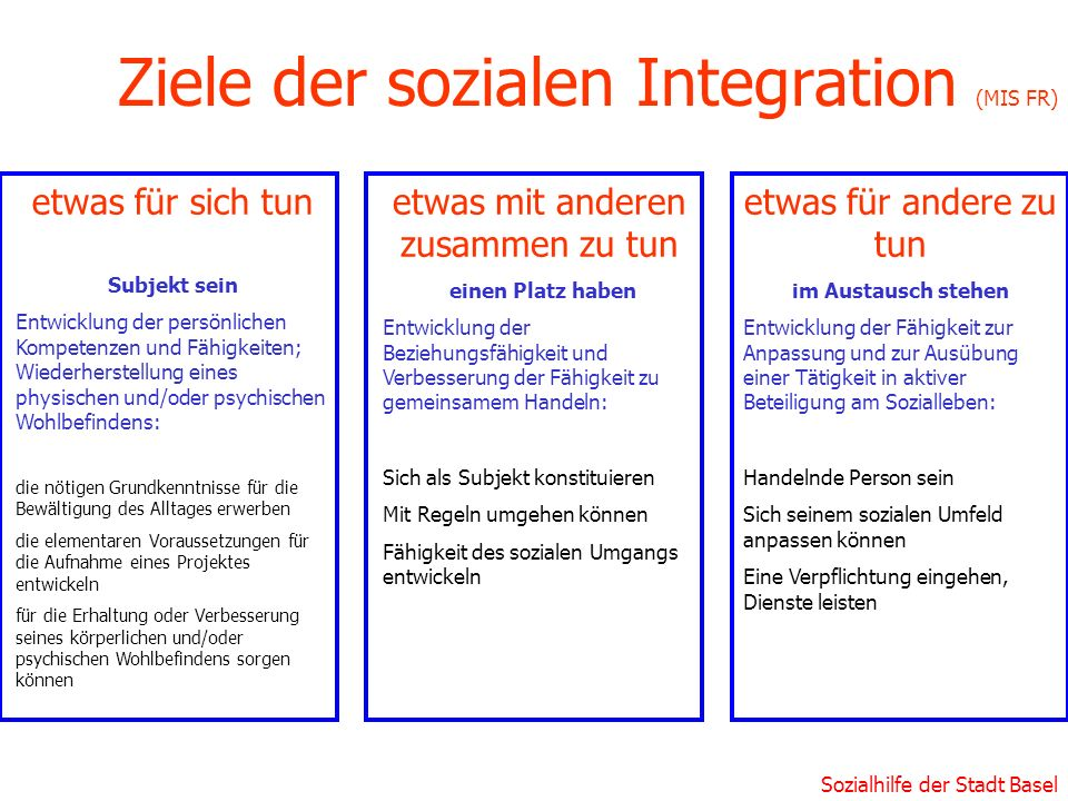 Ziele der sozialen Integration (MIS FR)