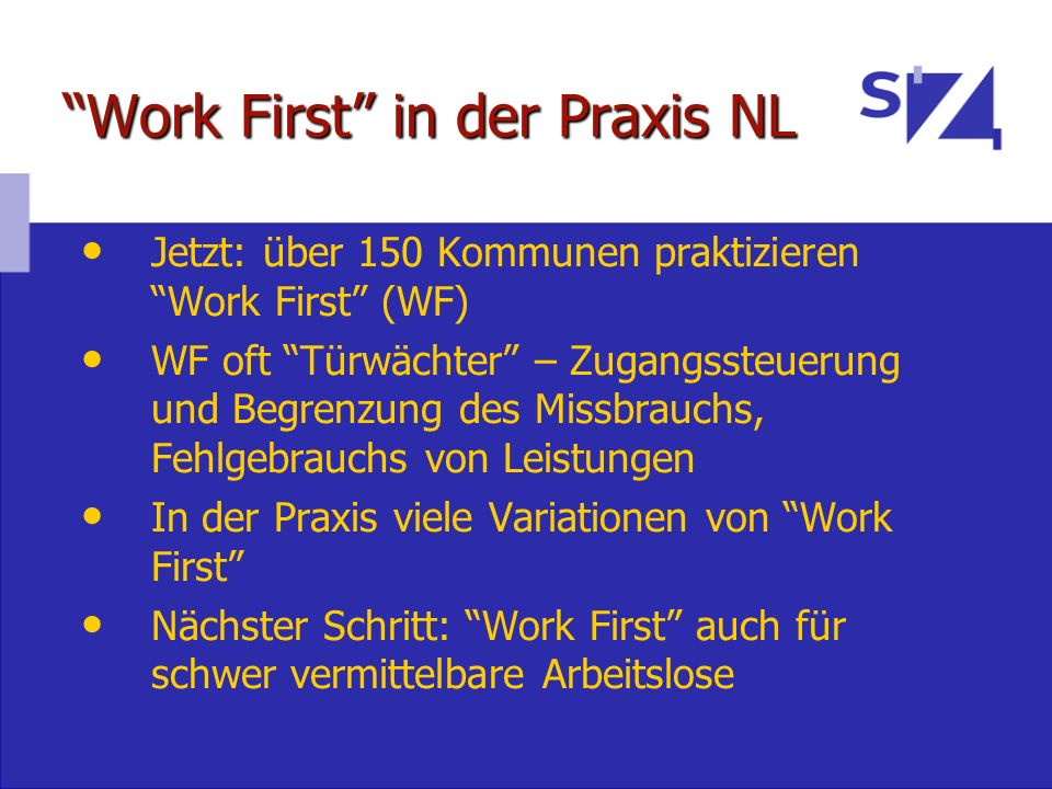 Work First in der Praxis NL