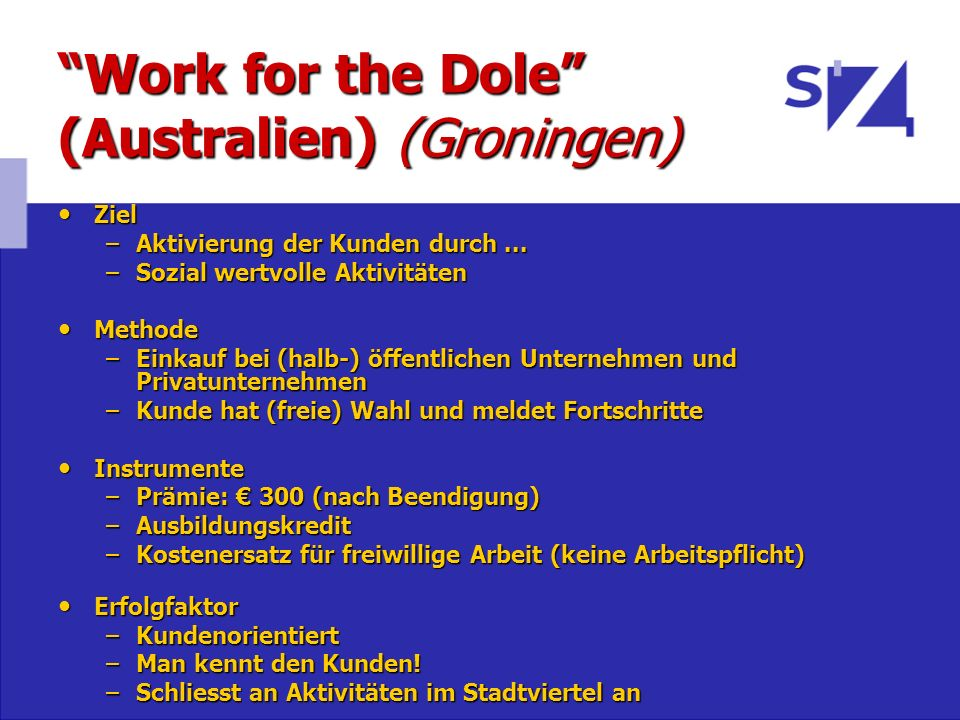 Work for the Dole (Australien) (Groningen)