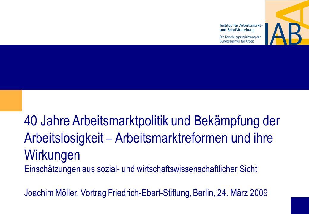 40 Jahre Arbeitsmarktpolitik und Bekämpfung der Arbeitslosigkeit – Arbeitsmarktreformen und ihre Wirkungen