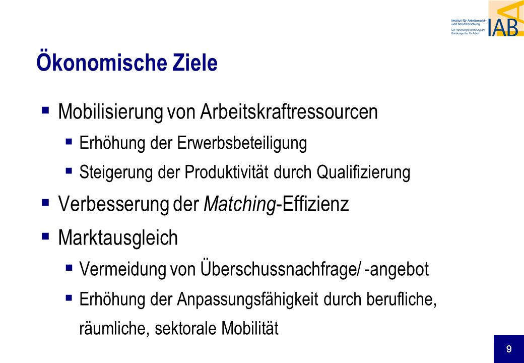 Ökonomische Ziele Mobilisierung von Arbeitskraftressourcen