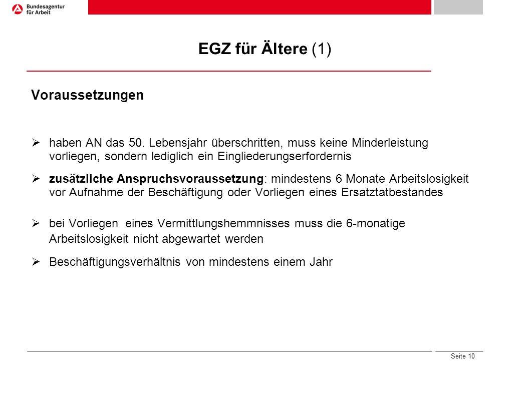 EGZ für Ältere (1) Voraussetzungen