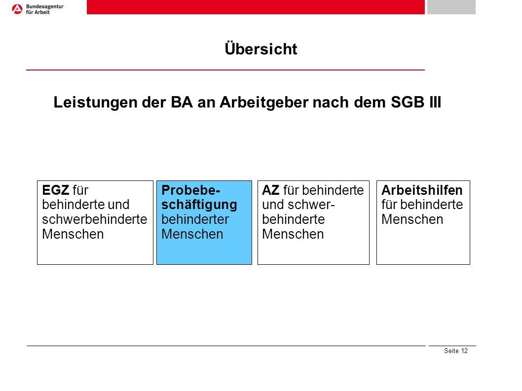 Leistungen der BA an Arbeitgeber nach dem SGB III