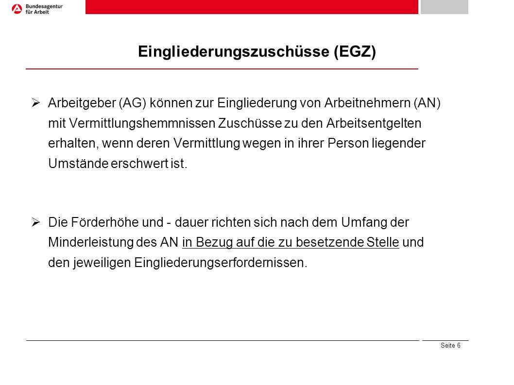 Eingliederungszuschüsse (EGZ)