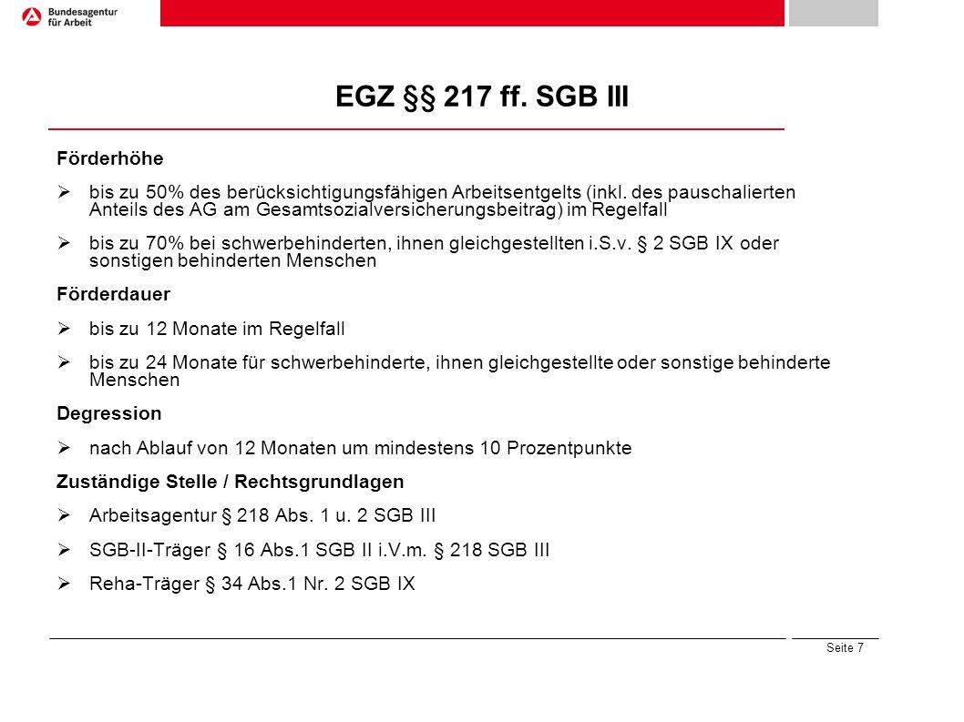 EGZ §§ 217 ff. SGB III Förderhöhe