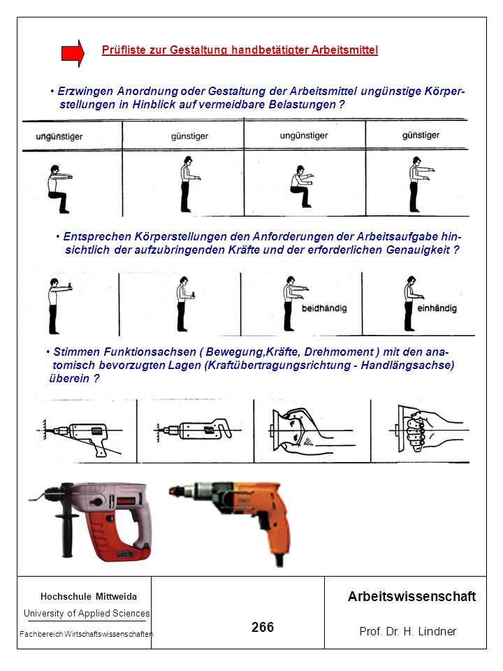 Prüfliste zur Gestaltung handbetätigter Arbeitsmittel