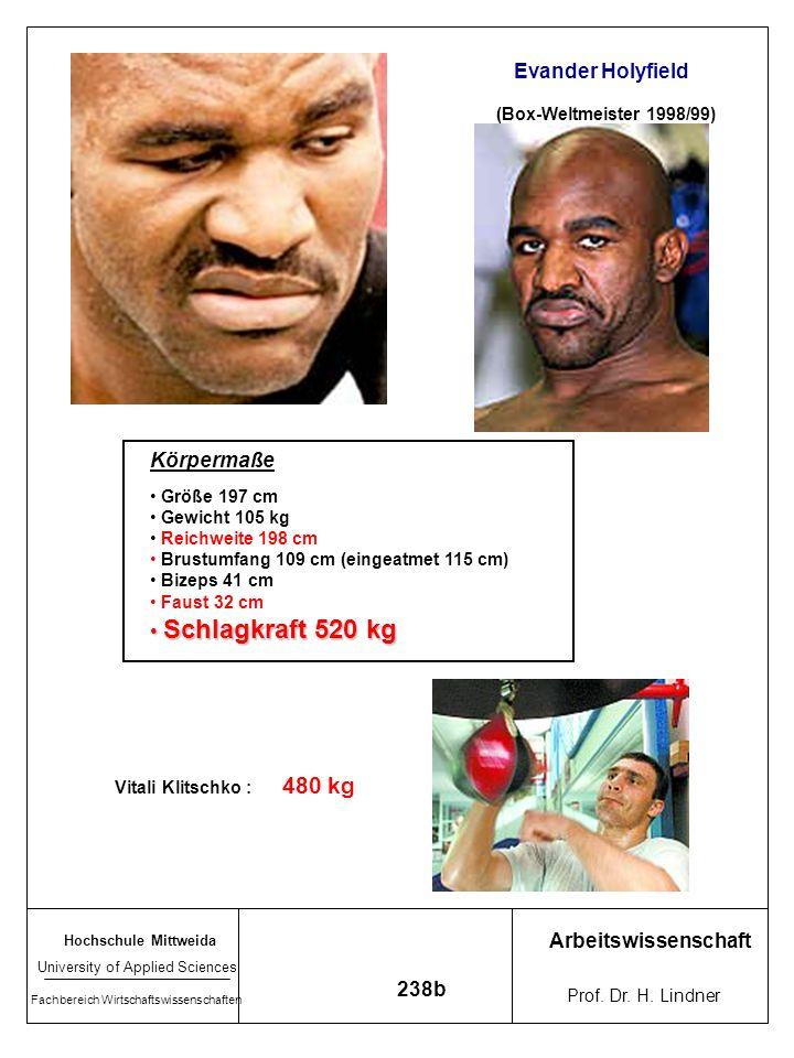 480 kg Evander Holyfield Körpermaße Schlagkraft 520 kg