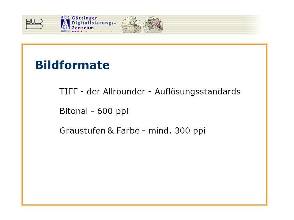 Bildformate TIFF - der Allrounder - Auflösungsstandards