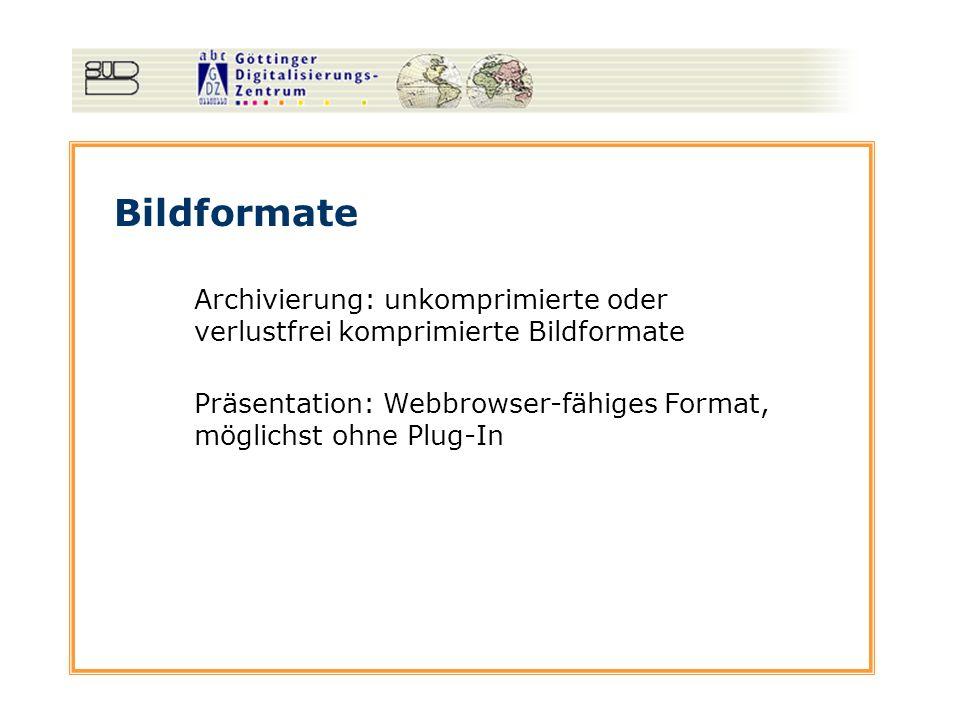 Bildformate Archivierung: unkomprimierte oder verlustfrei komprimierte Bildformate. Präsentation: Webbrowser-fähiges Format, möglichst ohne Plug-In.
