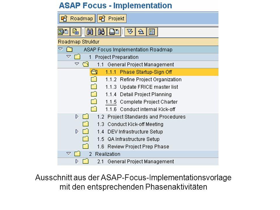 Ausschnitt aus der ASAP-Focus-Implementationsvorlage mit den entsprechenden Phasenaktivitäten