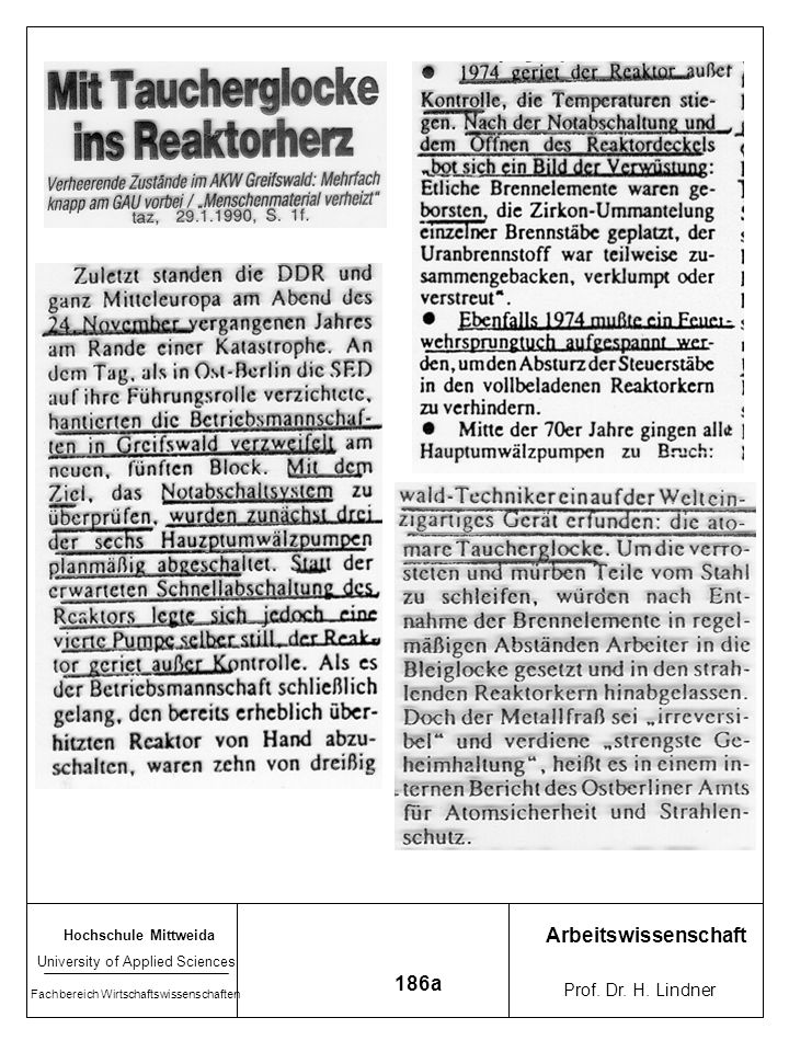 Arbeitswissenschaft 186a Prof. Dr. H. Lindner Hochschule Mittweida