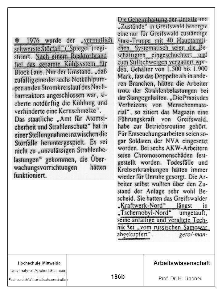 Arbeitswissenschaft 186b Prof. Dr. H. Lindner Hochschule Mittweida