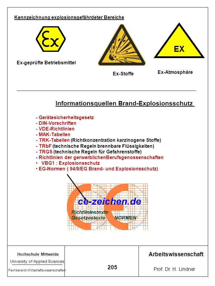 EX Informationsquellen Brand-Explosionsschutz Arbeitswissenschaft 205