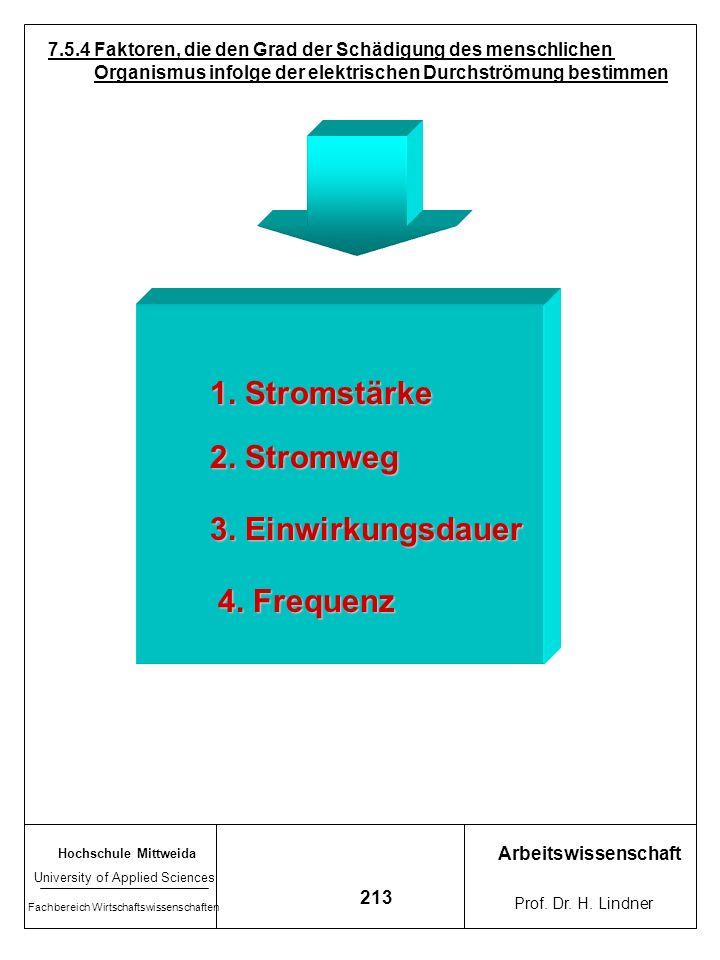 1. Stromstärke 2. Stromweg 3. Einwirkungsdauer 4. Frequenz