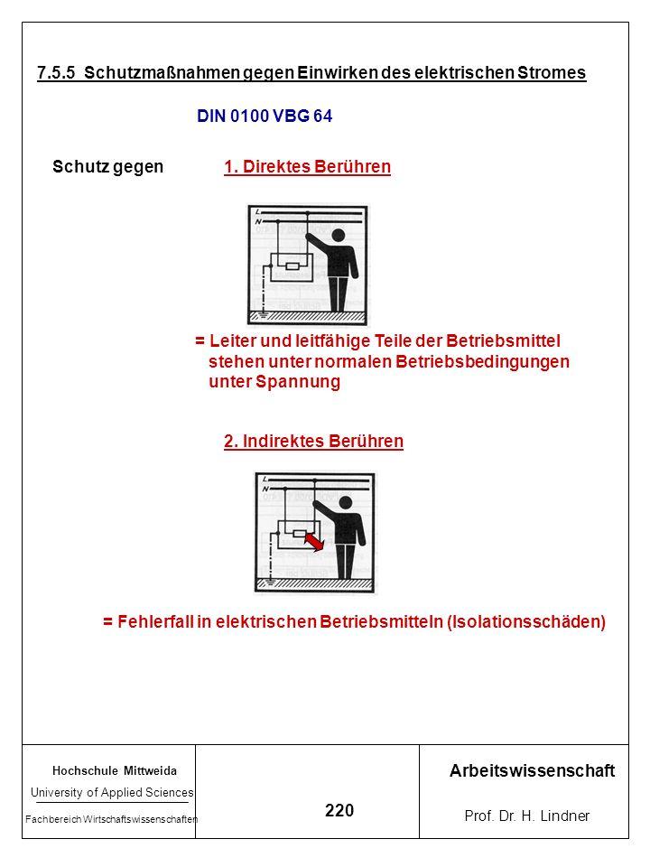 7.5.5 Schutzmaßnahmen gegen Einwirken des elektrischen Stromes