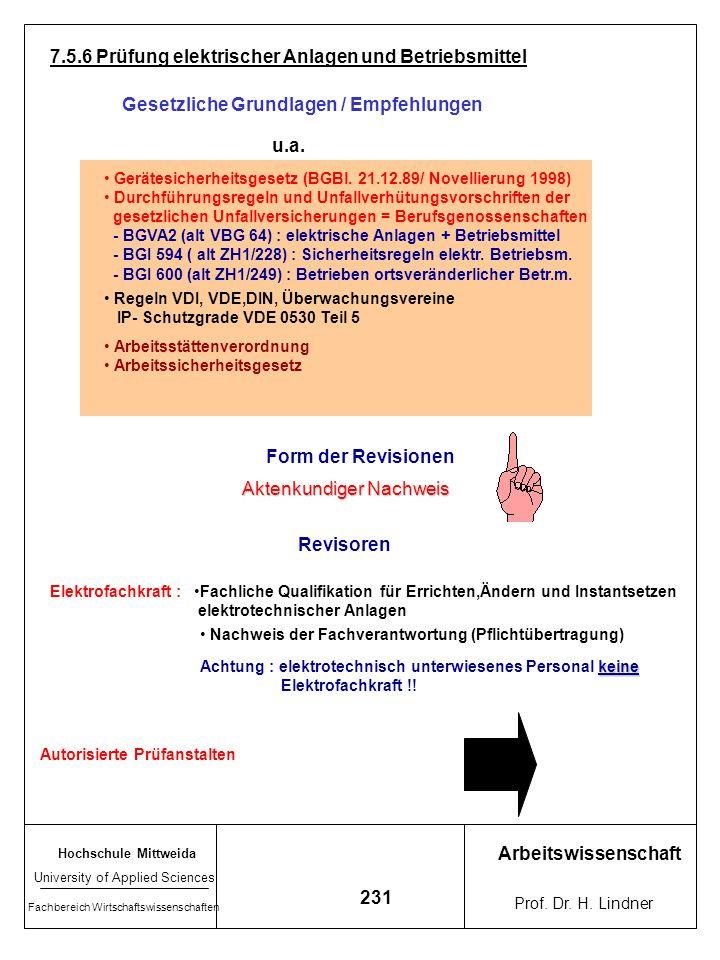 7.5.6 Prüfung elektrischer Anlagen und Betriebsmittel