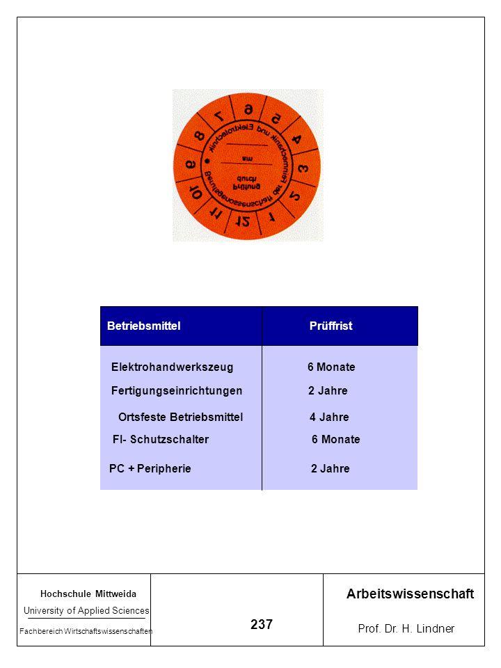 Arbeitswissenschaft 237 Betriebsmittel Prüffrist