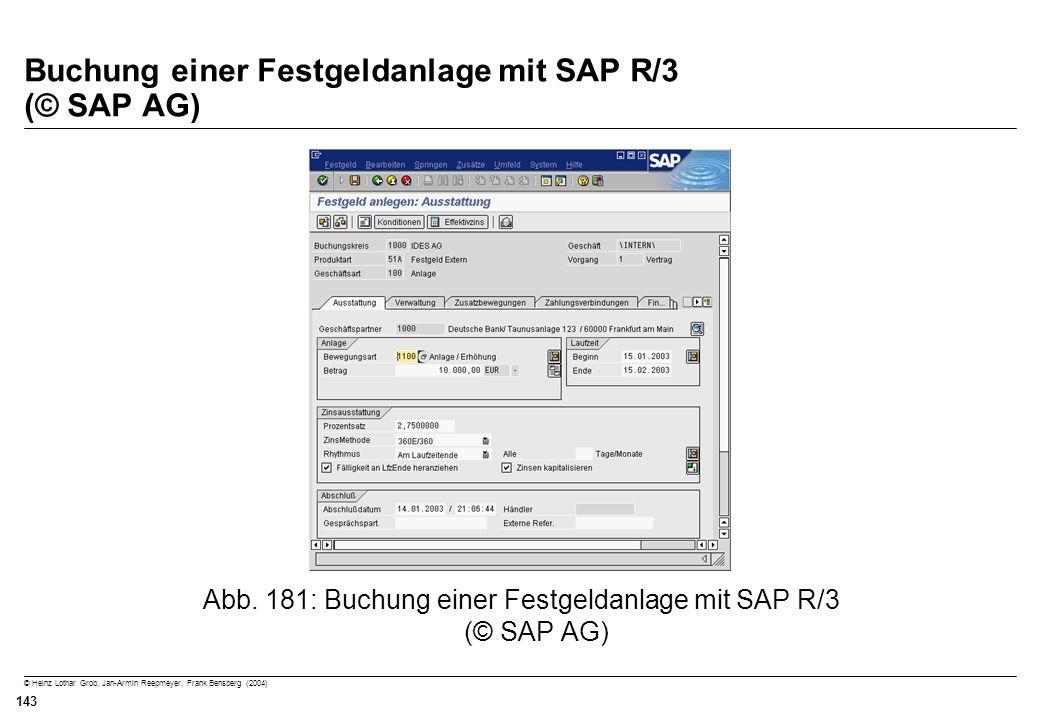 Buchung einer Festgeldanlage mit SAP R/3 (© SAP AG)