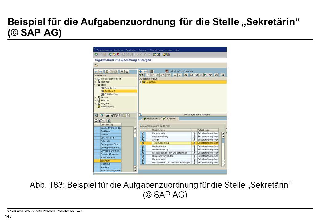 """Beispiel für die Aufgabenzuordnung für die Stelle """"Sekretärin (© SAP AG)"""