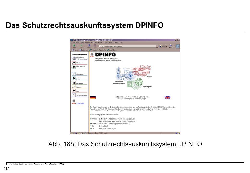 Das Schutzrechtsauskunftssystem DPINFO