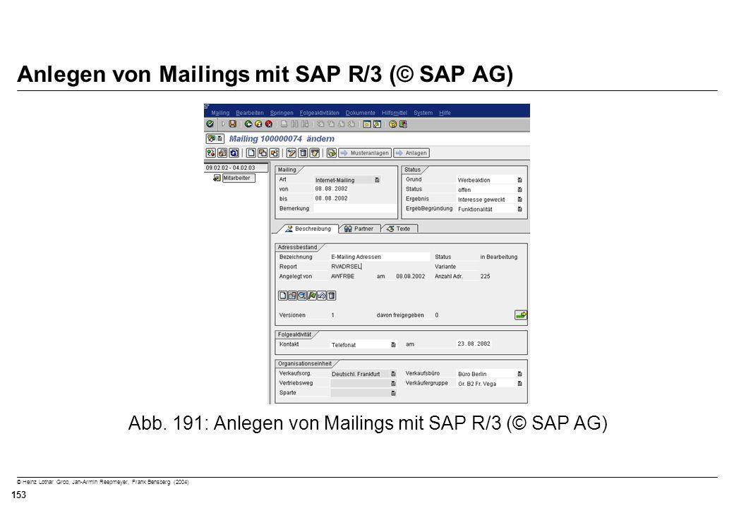 Anlegen von Mailings mit SAP R/3 (© SAP AG)