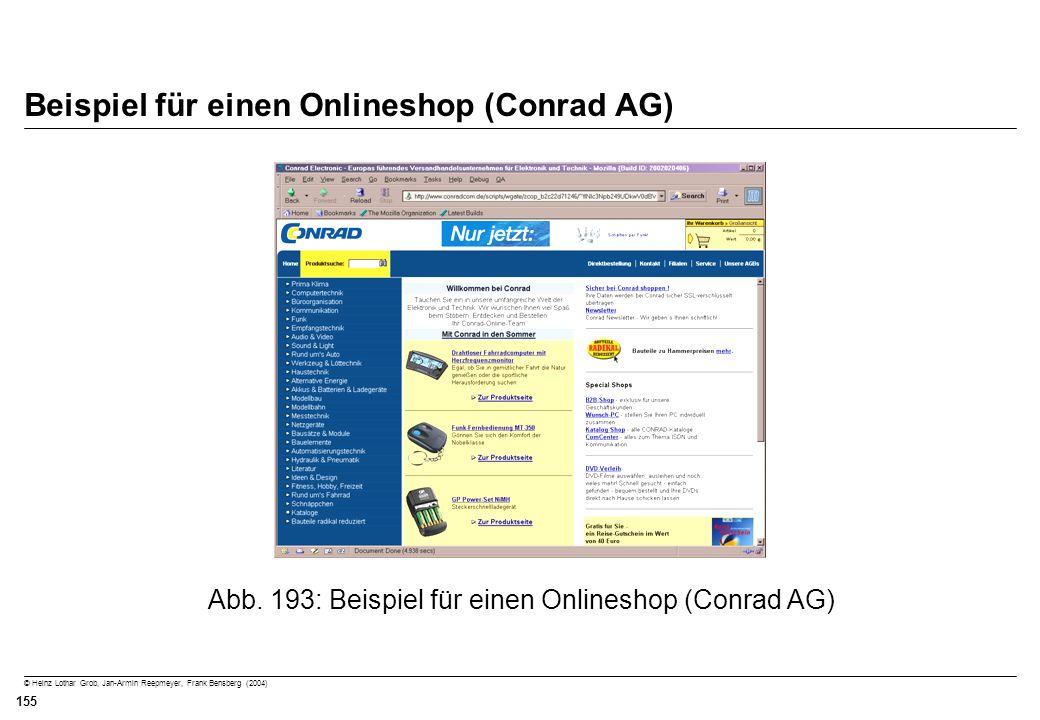 Beispiel für einen Onlineshop (Conrad AG)