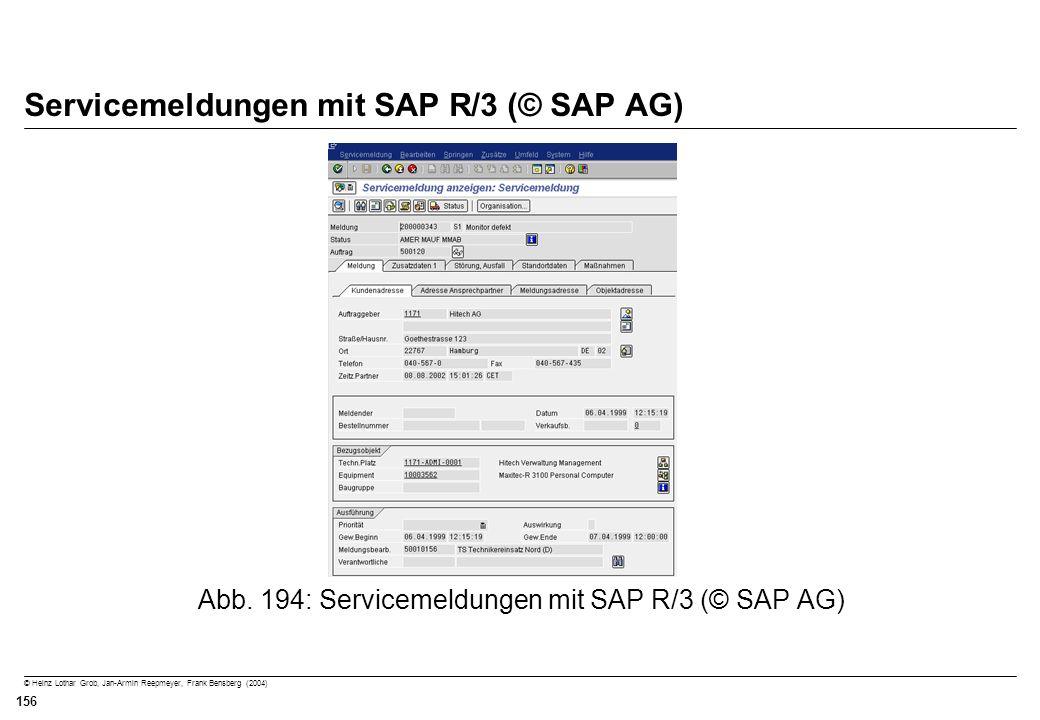 Servicemeldungen mit SAP R/3 (© SAP AG)
