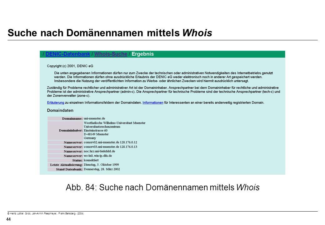 Suche nach Domänennamen mittels Whois