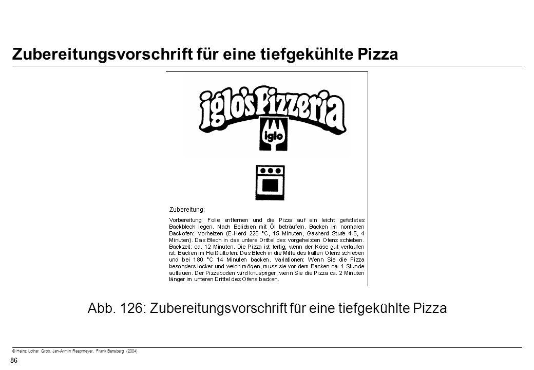 Zubereitungsvorschrift für eine tiefgekühlte Pizza