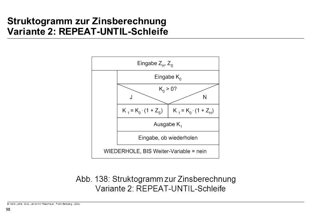Struktogramm zur Zinsberechnung Variante 2: REPEAT-UNTIL-Schleife