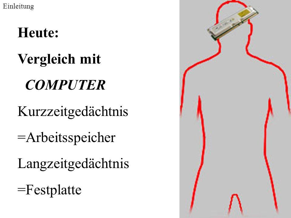 Heute: Vergleich mit COMPUTER Kurzzeitgedächtnis =Arbeitsspeicher