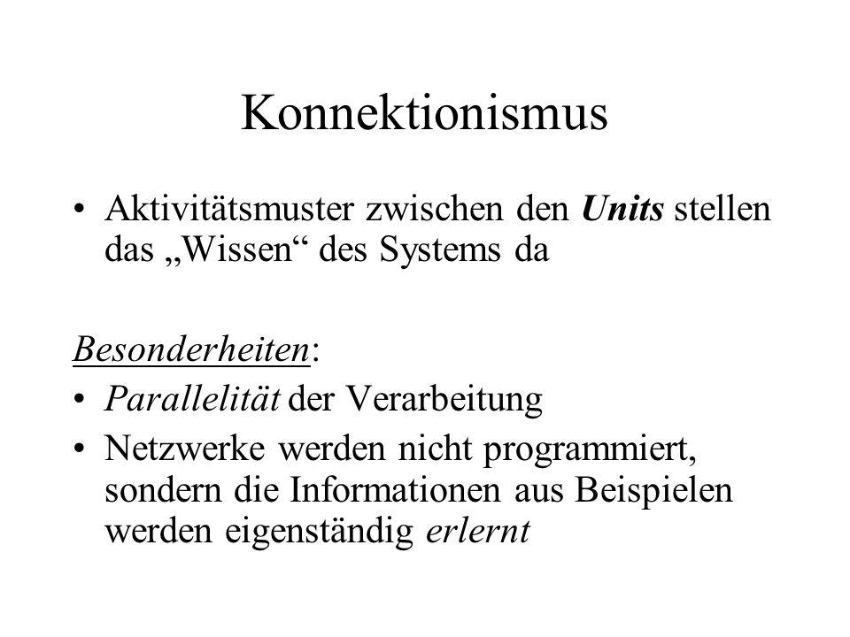 """Konnektionismus Aktivitätsmuster zwischen den Units stellen das """"Wissen des Systems da. Besonderheiten:"""