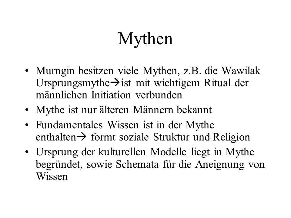 Mythen Murngin besitzen viele Mythen, z.B. die Wawilak Ursprungsmytheist mit wichtigem Ritual der männlichen Initiation verbunden.