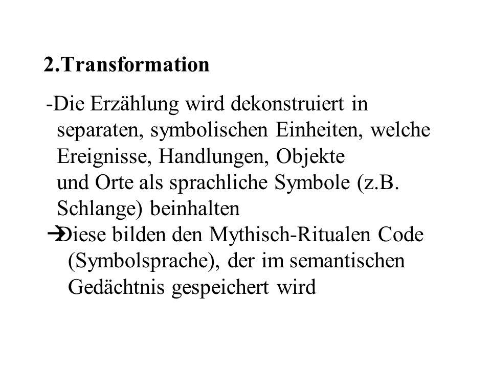 2.Transformation Die Erzählung wird dekonstruiert in. separaten, symbolischen Einheiten, welche. Ereignisse, Handlungen, Objekte.