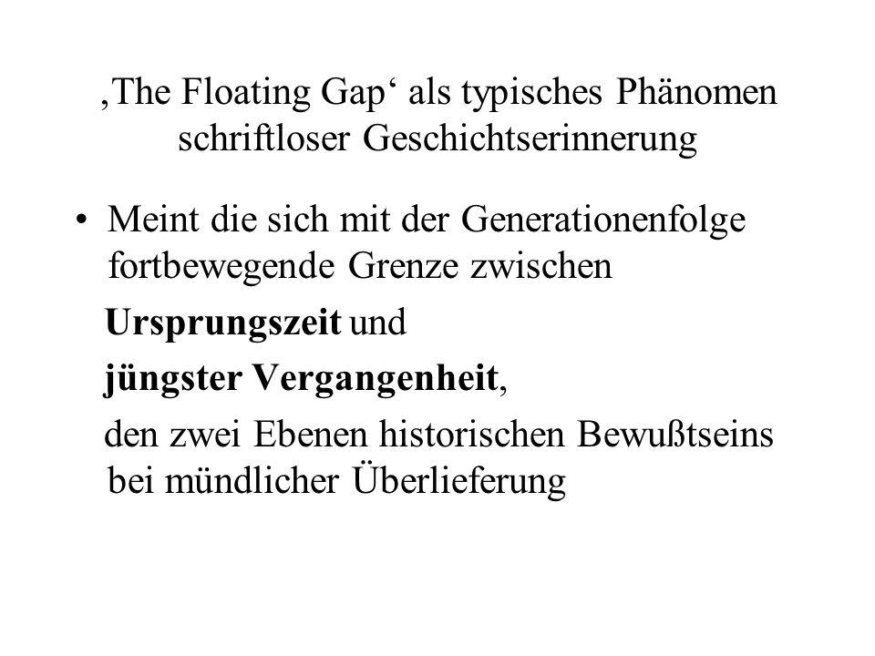 'The Floating Gap' als typisches Phänomen schriftloser Geschichtserinnerung