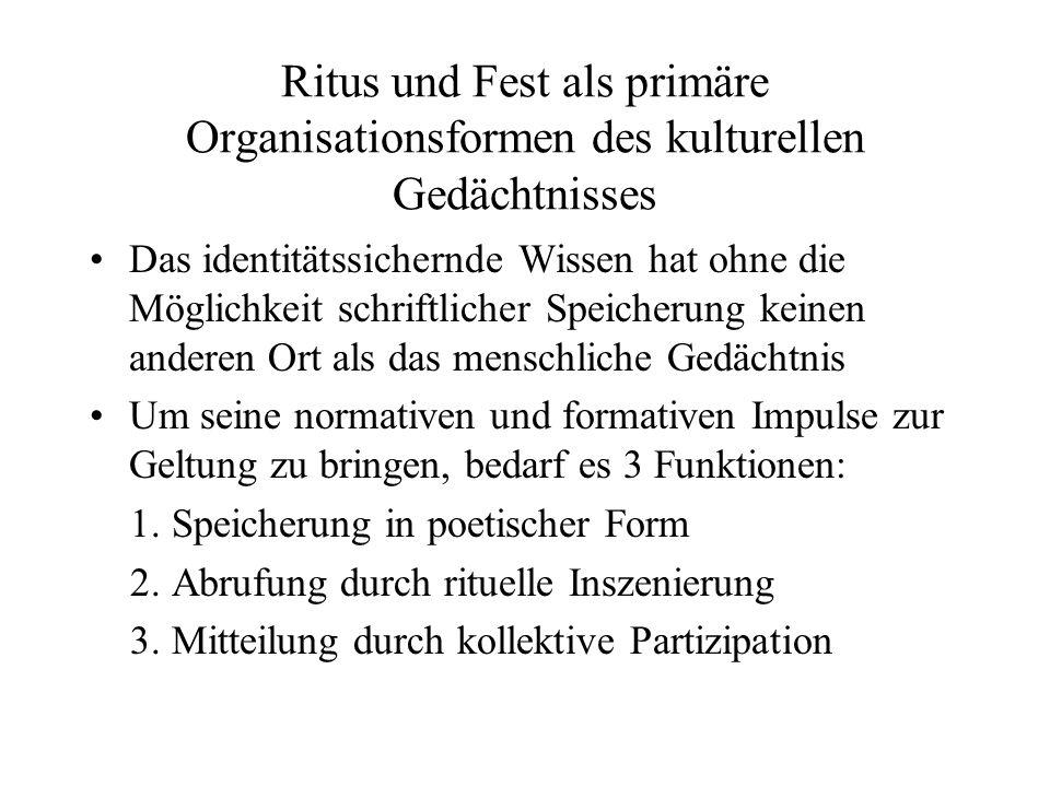 Ritus und Fest als primäre Organisationsformen des kulturellen Gedächtnisses