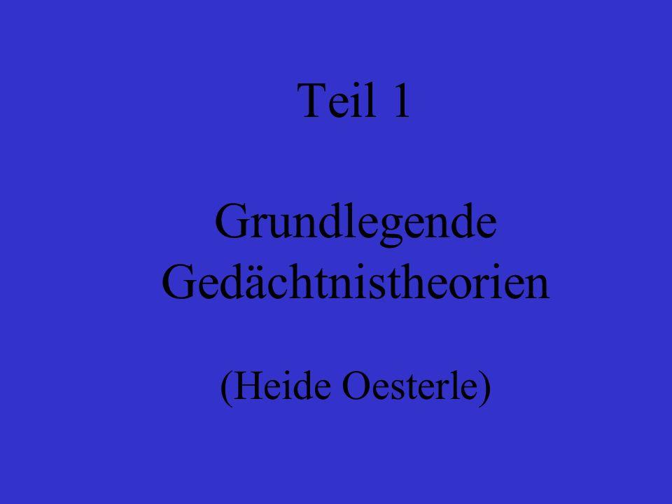 Teil 1 Grundlegende Gedächtnistheorien (Heide Oesterle)