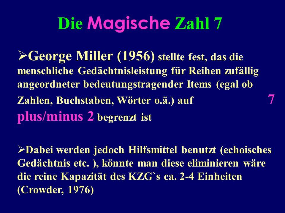 George Miller (1956) stellte fest, das die menschliche Gedächtnisleistung für Reihen zufällig angeordneter bedeutungstragender Items (egal ob Zahlen, Buchstaben, Wörter o.ä.) auf 7 plus/minus 2 begrenzt ist