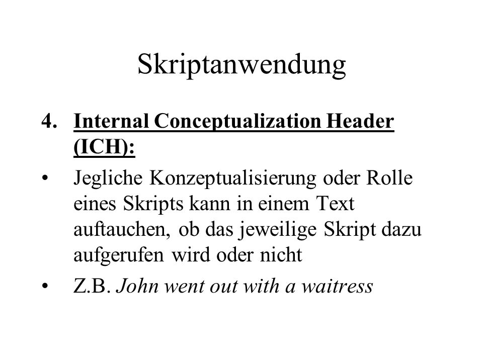 Skriptanwendung Internal Conceptualization Header (ICH):