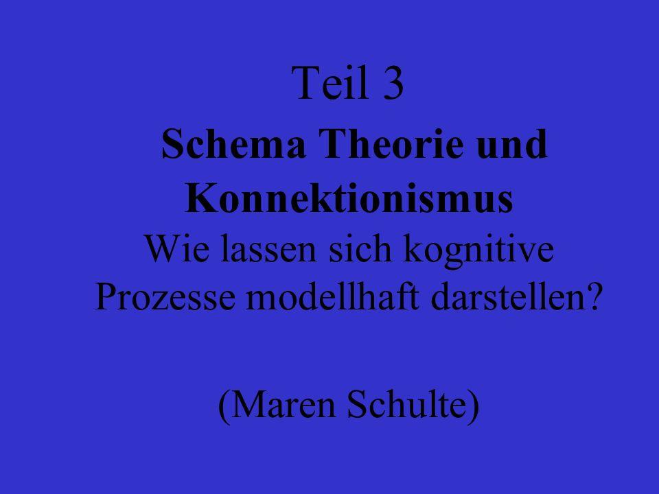 Teil 3 Schema Theorie und Konnektionismus Wie lassen sich kognitive Prozesse modellhaft darstellen.