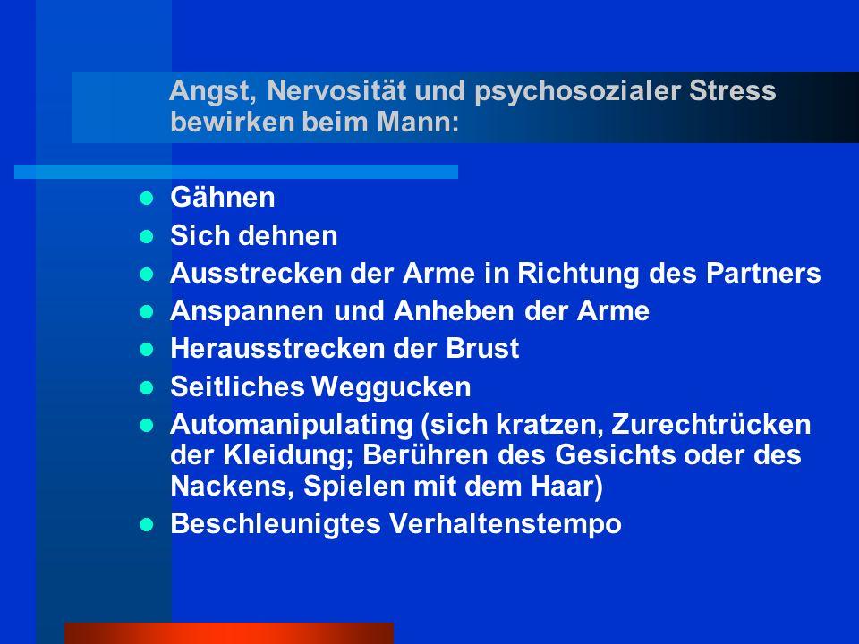 Angst, Nervosität und psychosozialer Stress bewirken beim Mann: