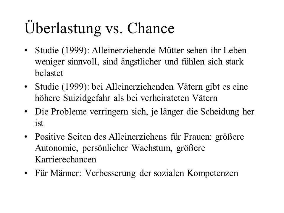 Überlastung vs. ChanceStudie (1999): Alleinerziehende Mütter sehen ihr Leben weniger sinnvoll, sind ängstlicher und fühlen sich stark belastet.