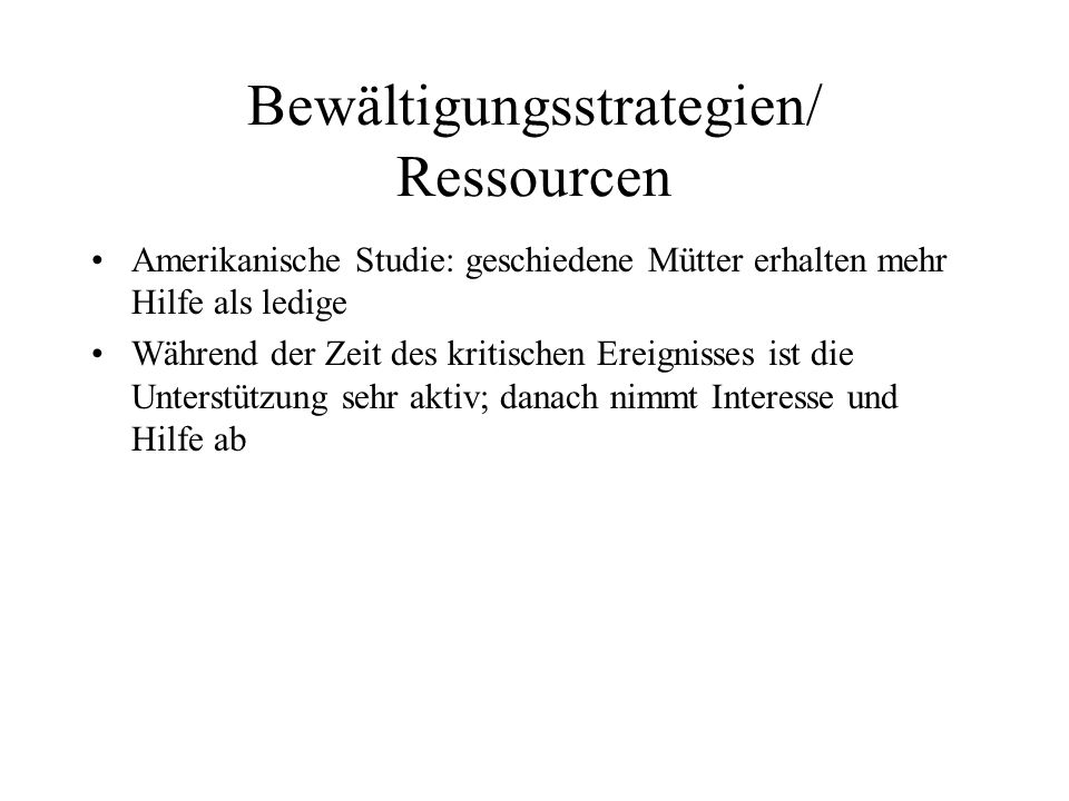 Bewältigungsstrategien/ Ressourcen