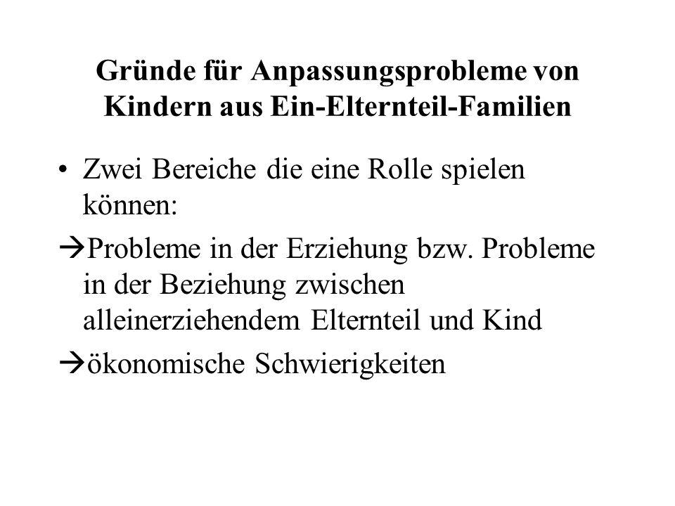 Gründe für Anpassungsprobleme von Kindern aus Ein-Elternteil-Familien