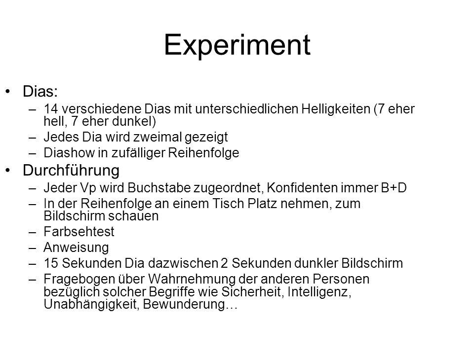 Experiment Dias: Durchführung