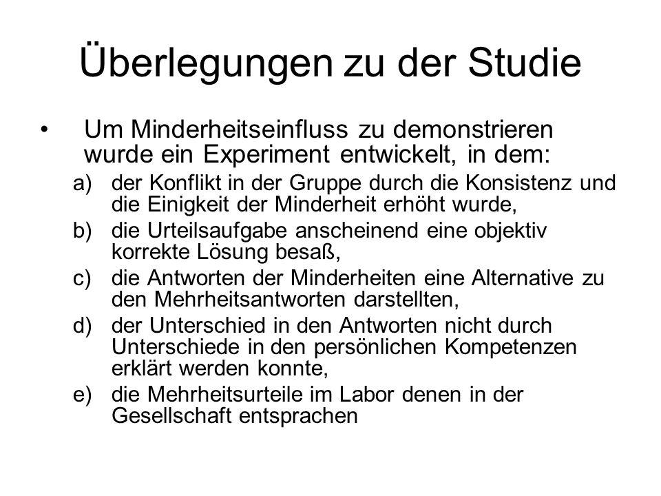 Überlegungen zu der Studie