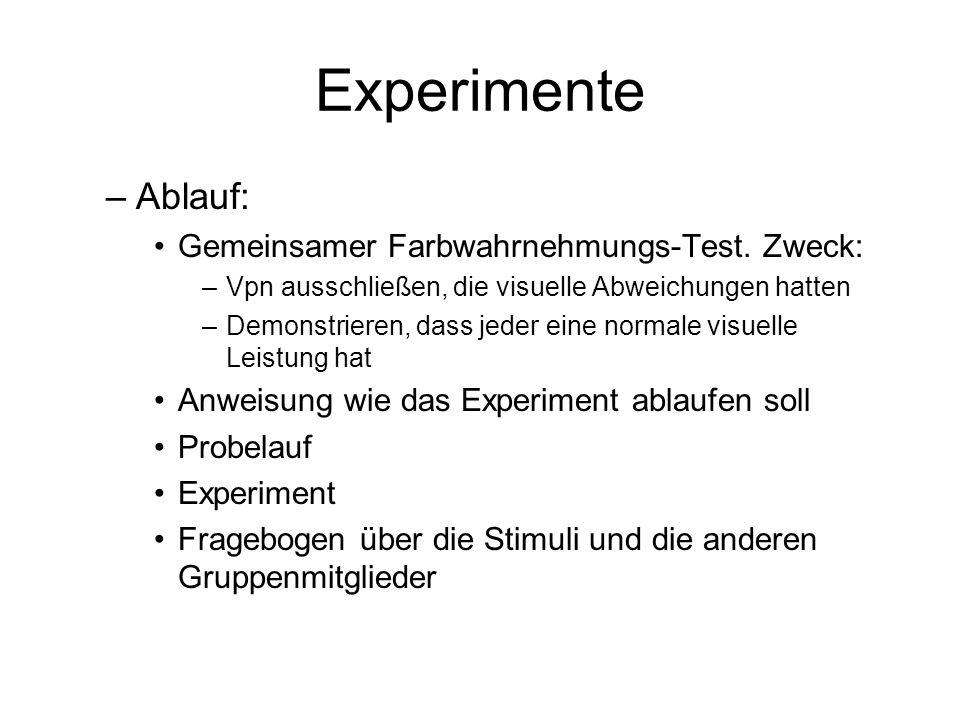 Experimente Ablauf: Gemeinsamer Farbwahrnehmungs-Test. Zweck: