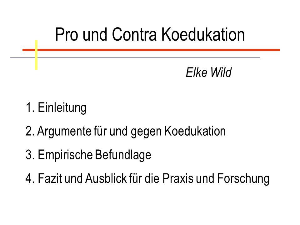 Pro und Contra Koedukation