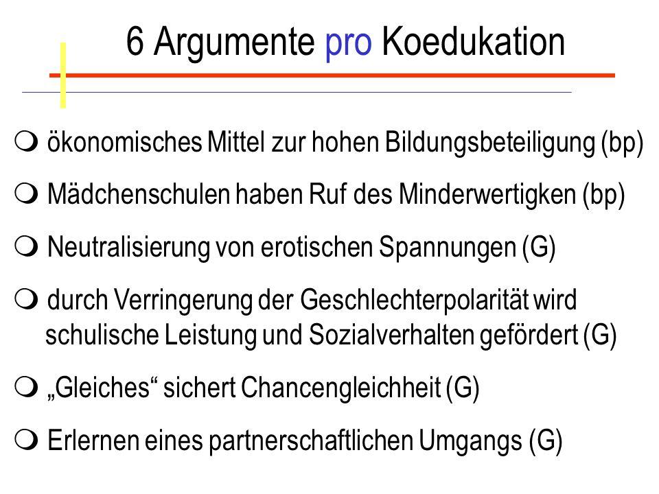 6 Argumente pro Koedukation
