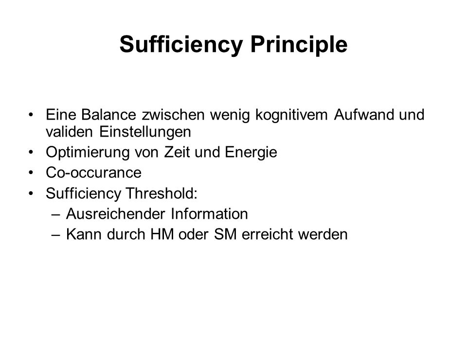 Sufficiency Principle